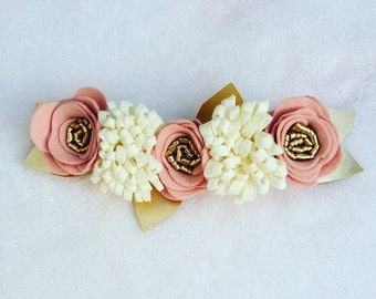 Pink Rose, Ivory and Gold felt flower crown headband/newborn flower crown headbands/baby girls/toddler headbands/child headbands/felt flower