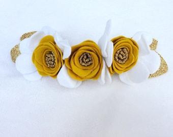 Mustard and White Felt Flower Crown/newborn headbands/toddler headbands/child headbands/flower crown
