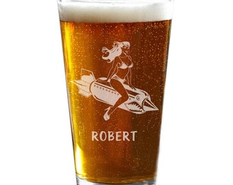 Pin Up Pint Glasses, Personalized Pint Glass, Rockabilly Pint Glass, Hot Rod Gift, Groomsmen Gift, Beer Glasses, Best Man Gift