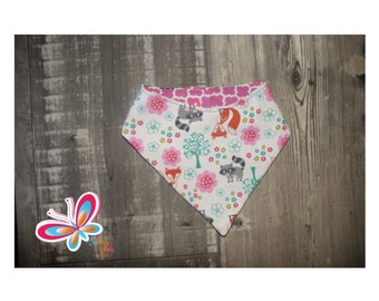 bandana reversible with raccoon and Fox back pink/white
