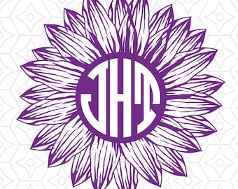 Sunflower Customizable Circular Monogram Decal Design, SVG, DXF, EPS Vector files for use with Cricut or Silhouette vinyl cutting machines