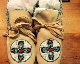Native American Hand Beaded Adult Moccasins