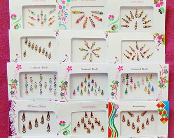 50 bindi Packets -Bollywood Tika Tikka BINDIS / Temporary Tattos, Temporary tattoos, Bindi Jewelry forehead tikka Gems Bellydance