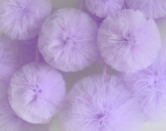 4 medium and 6 small tulle pom pom set / wedding party decorations pom poms - your colors - value set