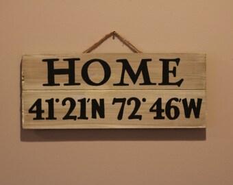 HOME Coordinates Sign
