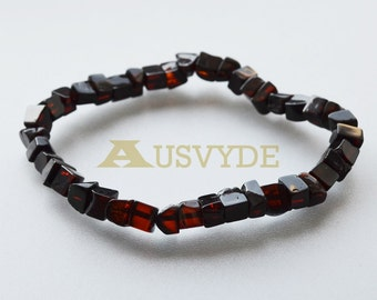 Cherry Baltic amber bracelet, Amber polished beads, cherry color, Handmade, Genuine amber, Gift for Her, IAA certificate, elastic Band, 5029