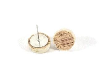 Personalized Cork Stud Earrings 11mm - Stud Earrings - Wine Cork Earrings - Bridesmaid Gift - Custom Color - Gift for Her