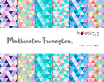 Geometric wallpaper. Multicolor Triangle digital paper. Instant download background. Geometric digital wallpaper with triangles.