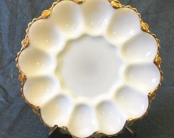 Vintage Anchor Hocking Milk Glass Deviled Egg Plate with Gold Trim