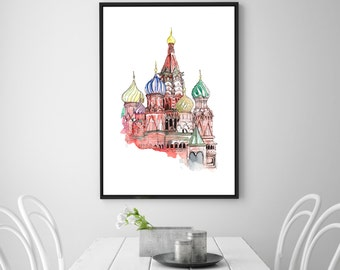 Grand Kremlin Palace, Moscow, Russia digital print. Watercolor painting art. Travel instant download. Great Kremlin Palace printable HQ