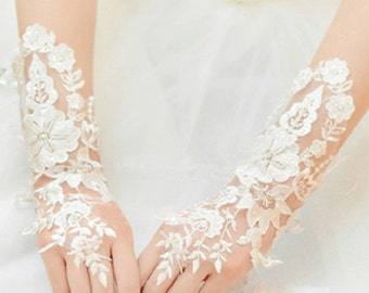 Wedding Gloves, Lace Gloves, Fingerless Gloves, bridal gloves,Bridesmaids Gloves, Bride gloves, Rhinestones Fingerless Gloves, LG16008