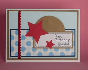 Handmade Blue layered birthday card with red stars and ribbon, male birthday card, birthday card for him, star birthday card, red and blue