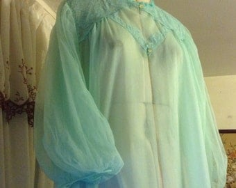Beautiful Sears sheer nylon duster gown size 38