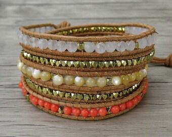 Bead wrap bracelet coral beads bracelet leather wrap bracelet gypsy bead bracelet bohemian wrap bracelet natural stone jewelry SL-0263