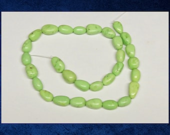 "Magnesite, Bright green - Full 15"" strand of pebble beads. 6x11mm average size. Gemstone stone beads. #MAG-060"