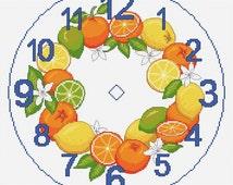 citrus clock cross stitch chart