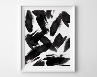 Abstract Art, Printable Wall Art, Black Abstract Print, Minimalist, Black Brush stroke Printable, Modern Wall Art,