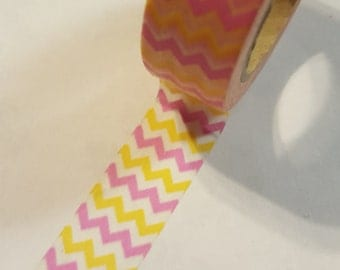 Pink and Yellow Vertical Chevron with White lines Washi Tape