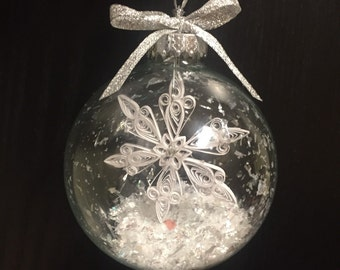 Quilled Snowflake in Glass Globe