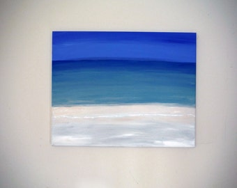 Beach Landscape painting, 16x20 Canvas, beach scene, clear water, 30A, Original Acrylic painting by krystalmichlleart