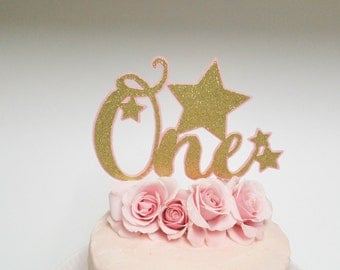 Pink and Gold One Cake Topper, Cake Topper, Pink and Gold Birthday, One Cake Topper, Glitter Cake Topper, Cake Smash, First Birthday