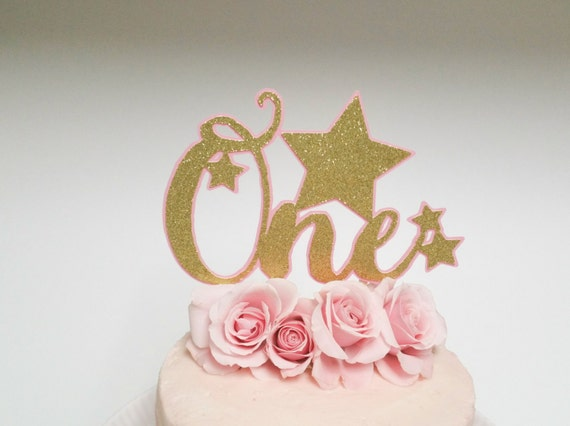Pink and Gold One Cake Topper Cake Topper Pink and Gold Birthday