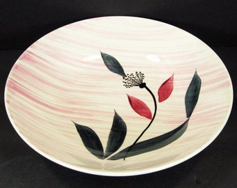 MCM Stetson China Pink Wash Floral Coupe Vegetable Serving Bowl Mid Century