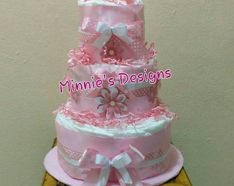 Babyshower diaper cake, Pretty in Pink baby girl diaper cake, Pink and white babyshower, Pink and white diaper cake, Baby girl babyshower