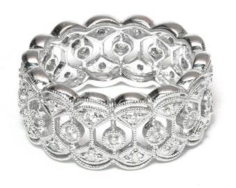 Symetric Filigree, Diamond Eternity, Eternity Ring, 18k White Gold, .5ct TW, VS1 or VS2 Clarity, F or G Color, White Gold Ring, Wedding Ring