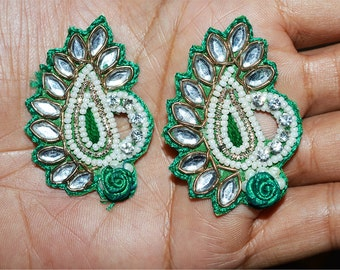 5 Green Paisley Handcrafted Appliques, Rhinestone Embroidery / Golden Zardozi work / Bridal lehngas / home decoration Appliques