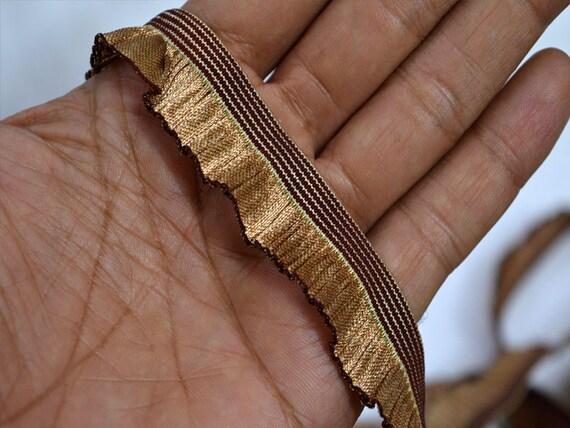 Copper Elastic Ruffle Elastic Trim Stretch Ribbon Trim