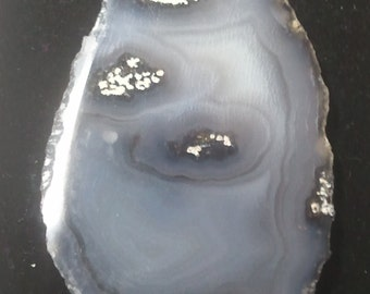 0265-Silver Agate Slice Pendant With Drilled Hole 40 mm x 65 mm,Silver Agate Slice,Beautiful Silver Agate Slice Pendant,Silver Agate Pendant