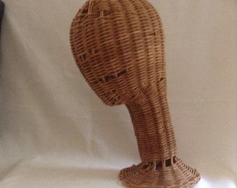 Vintage Wicker Head Form
