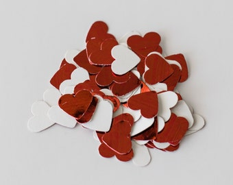 200 Red Heart confetti, heart table scatters, scatterers, mirrored hearts, Christmas wedding, wedding table decor, valentines, baby shower