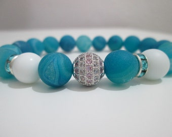 Agate bracelet druza blue and white agate gemstone