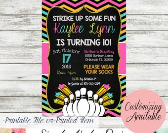 Bowling Birthday Party Invite - Cosmic Bowling birthday invite