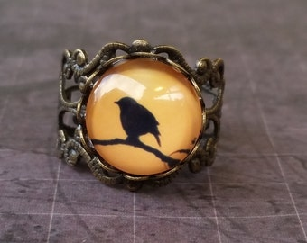 Black Bird on A Branch Ring, Bird Ring, Steampunk Bird Ring, Filigree Ring, Renaissance Bird Ring, Steampunk Ring, Adjustable Filigree Ring