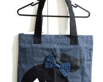 Handmade Denim and canvas tote bag