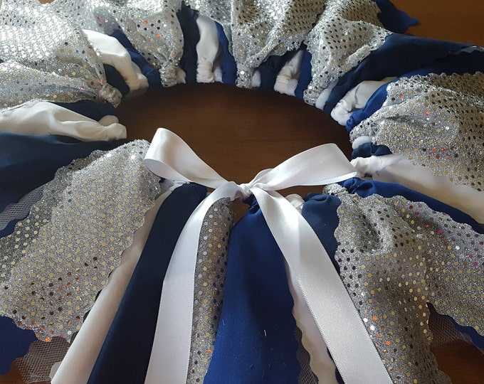 blue silver white cheerleader fabric tutu holiday tutu navy blue princess tutu spirit skirt smash cake photos birthday tutu tulle fluffy