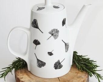 Tea pot Ginkgo Biloba, Screenprint, black and white, tea tableware, nature print, tableware