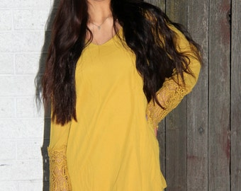 Mustard Lace Trim Dress