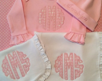 Monogrammed baby gown, hat, appliqued baby bib and burp cloth bundles