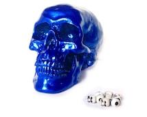 Metallic Blue Skull Decor - Faux Skull Statue - Human Skull Replica - Skull Head Sculpture - Faux Taxidermy - Decorative Skulls - Skull Art