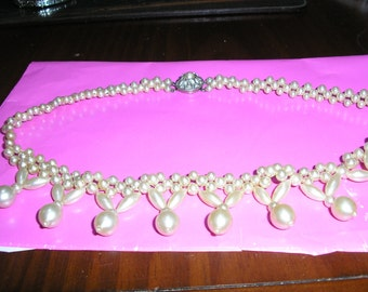 Vintage pearl statement necklace