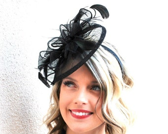 Fascinator, Black Fascinator, Black Hat, Womens Tea Party Hat, Church Hat, Derby Hat, Fancy Hat, Tea Party Hat, wedding hat, British Hat