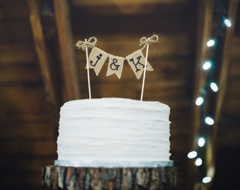 Wedding Cake Topper Rustic Burlap