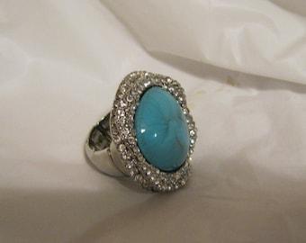 Ring aqua oval stone stretch