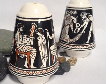 Vintage Greek Salt and Pepper Shakers, black and white