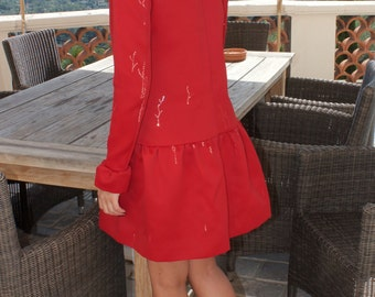 Tight Satin Handmade Red Dress Size XS-S