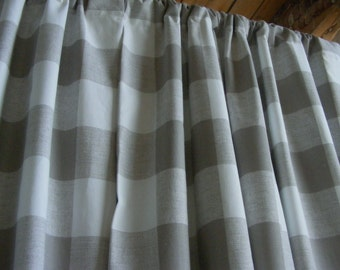 Ecru Beige Grey Curtain Panels Buffalo Check Window Curtain Panels  Modern  Window Treament Pairs Lined